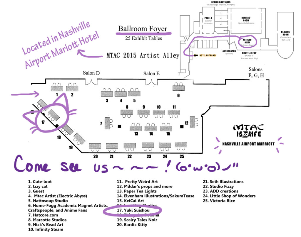MTAC 2015 Artist Alley location