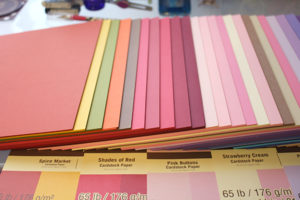 Image of 8.5 by 11 cardstock in various colors