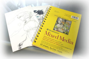 Image of Strathmore Mixed Media 5.5 by 8.5 inch paper with two illustrations I drew using this paper